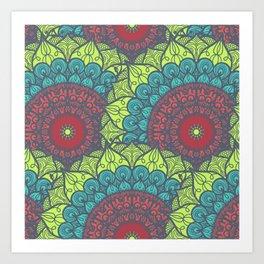 Mandala pattern #5 - yellow, green, red Art Print