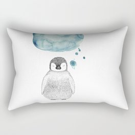 Dreaming Penguin - Blue Watercolor Rectangular Pillow