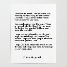 for what it's worth - fitzgerald quotes Poster
