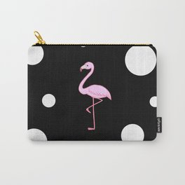 Pink flamingo black&white background  Carry-All Pouch