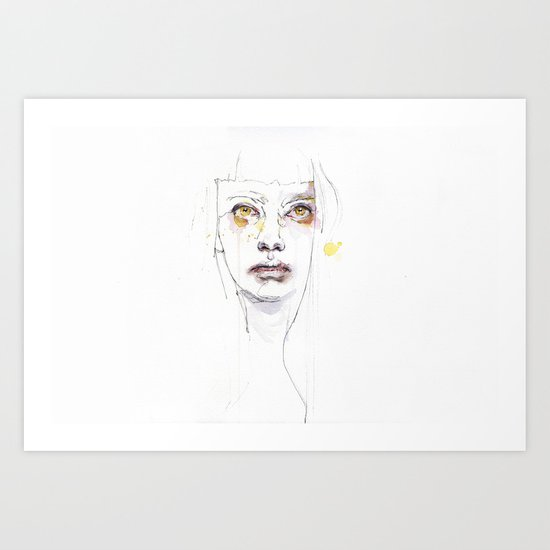 Golden eyes girl Art Print