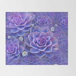 """Bouquet of pastel violet exotic succulents"" Throw Blanket"