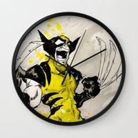berserk Wall Clocks featuring Wolverine - Berserker by RISE Arts