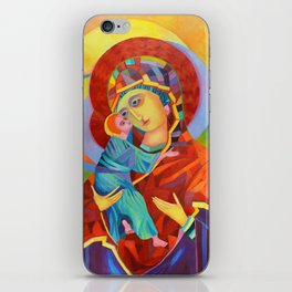 Virgin Mary Painting Madonna and Child Jesus icon Modern Catholic Religious iPhone Skin