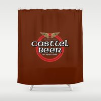 castiel Shower Curtains featuring Castiel Beer by Nana Leonti