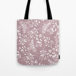 Modern mauve pink white hand painted floral Tote Bag