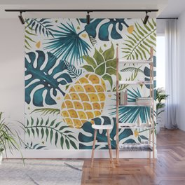 Golden pineapple on palm leaves foliage Wall Mural