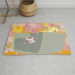 Dogs in chairs French Bull Dogs Rug