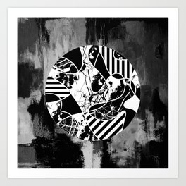 Circle Of Contrast - Black and white textured patterns, stripes, paint splats and marble Art Print