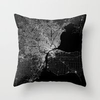detroit Throw Pillows featuring Detroit map  by Line Line Lines