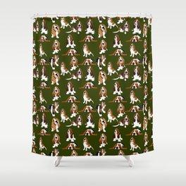 Basset Hounds on Moss Shower Curtain