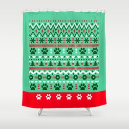 Dog Christmas Patter Shower Curtain