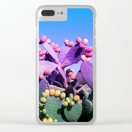 Sweet Rainbow Tropical Cactus #tropicalart #decor Clear iPhone Case