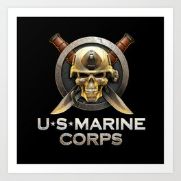 Military badge with marine skull Art Print