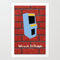 wreck it ralph Art Prints featuring Wreck-It Ralph Minimalist by UraHameshi