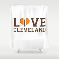 cleveland Shower Curtains featuring LUV Cleveland by C. Wie Design