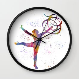Rhythmic gymnastics competition in watercolor 08 Wall Clock