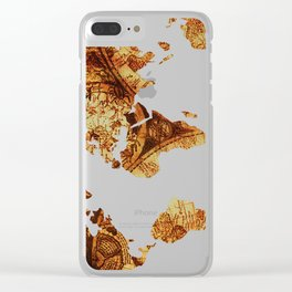 Vintage World Antique Star Map Clear iPhone Case