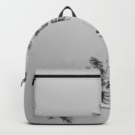 Black Palms // Monotone Gray Beach Photography Vintage Palm Tree Surfer Vibes Home Decor Backpack