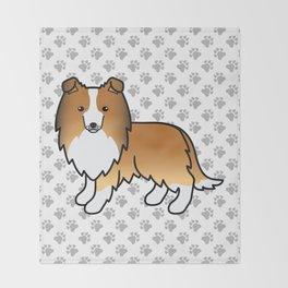 Sable Shetland Sheepdog Dog Cartoon Illustration Throw Blanket