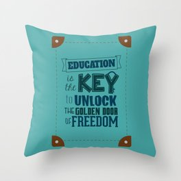 Lab No. 4 Education Is the Key George Washington Carver Inspirationa Quote Throw Pillow