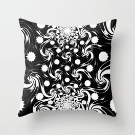 abstract fractal black work Throw Pillow