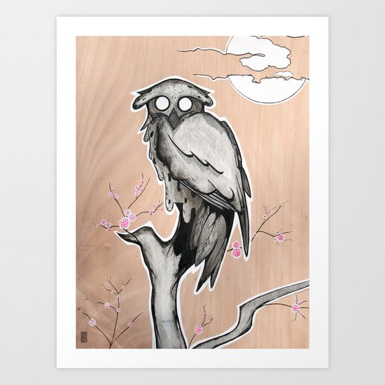 Owl on the branch with a full moon Art Print