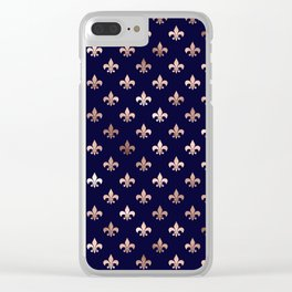 Royal Blue Rose Gold Pattern Clear iPhone Case