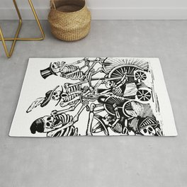 Calavera Cyclists   Skeletons on Bikes   Day of the Dead   Dia de los Muertos   Black and White   Rug