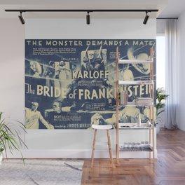 Bride of Frankenstein, vintage horror movie poster Wall Mural