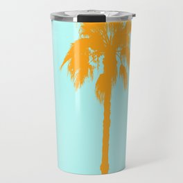 Orange palm trees silhouettes on blue Travel Mug