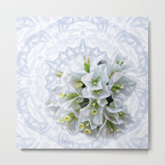 pretty bouganvillea on delicate kaleidoscope Metal Print