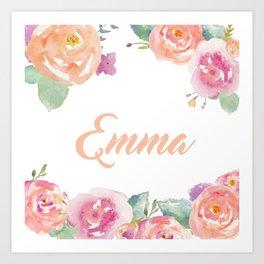 Emma Floral Name Art Print