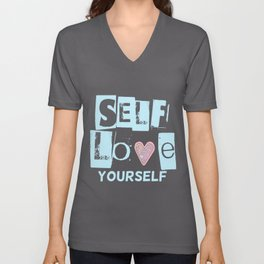 Love Your Self in Blue Unisex V-Neck