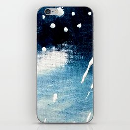 Meteor Shower - an abstract acrylic piece in blue and white iPhone Skin