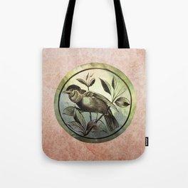 Bird on green glass Tote Bag