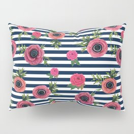 Watercolor Flowers with Nautical Stripes Pillow Sham