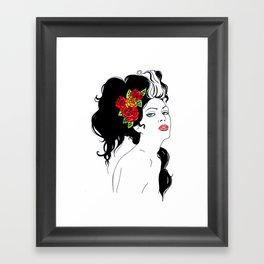 Girl with Roses Framed Art Print