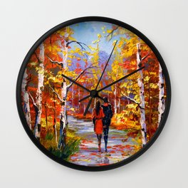 Autumn walk Wall Clock