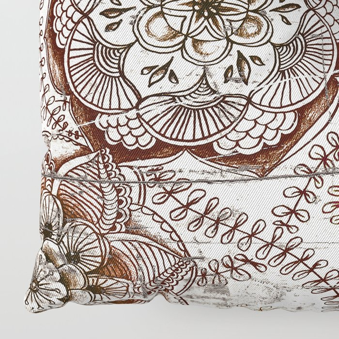 Coffee & Cocoa - brown & cream floral doodles on wood Floor Pillow
