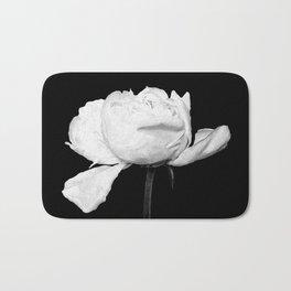 White Peony Black Background Bath Mat