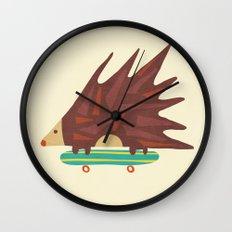 Hedgehog in hair raising speed Wall Clock