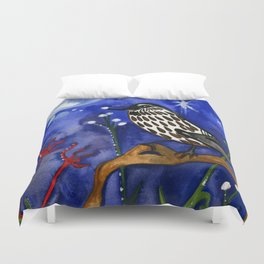 Silver Moon Berries Duvet Cover