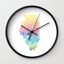 Typographic Illinois - Spring Wall Clock