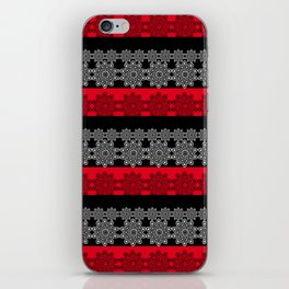 Black red fishnet lace pattern . iPhone Skin