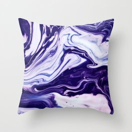 Blue, Pink, White and Purple Marble Throw Pillow