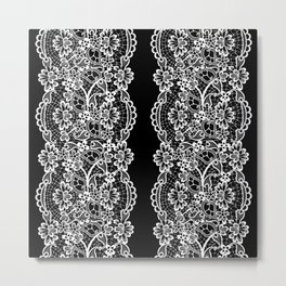 Black and White Floral Embroidery Lines Metal Print