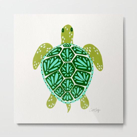 Sea Turtle – Green Palette Metal Print