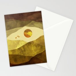 Landscape watercolor with mountains, clouds, sun and birds Stationery Cards
