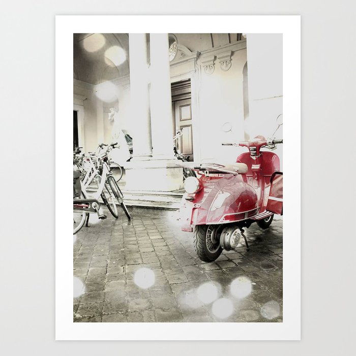 Retro Vespa Art Print
